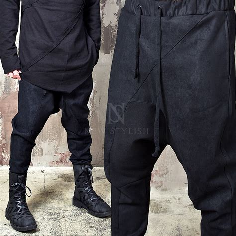 Bottoms - ★Sold out ★Crack fabric contrast black baggy