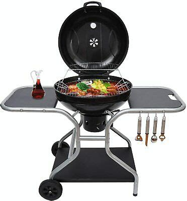 Outsunny Charcoal Trolley Barbecue Grill W Wheels, Black