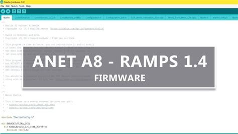 Anet A8 Marlin firmware setup for RAMPS 1