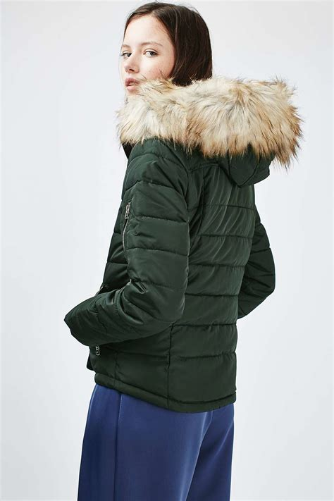 TOPSHOP Hooded Puffer Jacket - Lyst