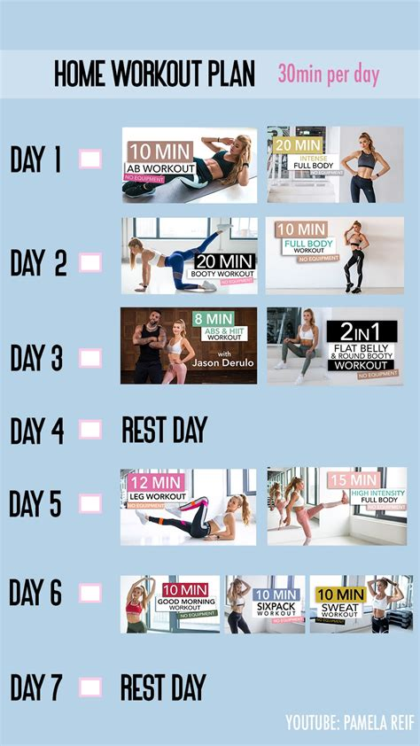 (51) Pamela Reif - YouTube in 2020 | At home workout plan