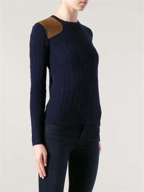 Ralph Lauren Blue Label Cable Knit Sweater in Blue - Lyst