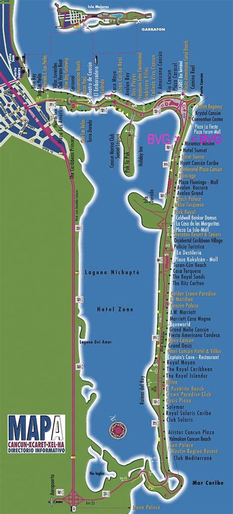map of the famous Cancun Hotel Zone | Cancun hotels