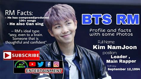 BTS (Bangtan Boys) Leader RM   Profile and facts   RMs