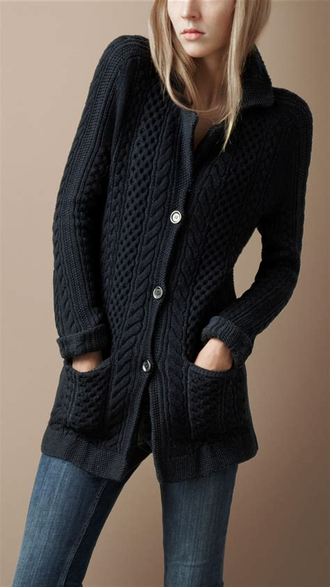 Burberry Brit Cable Knit Jacket in Blue - Lyst