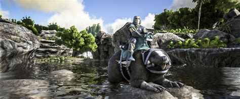 ARK: Survival Evolve holds its wood with a Giant Beaver