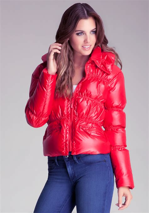 Bebe Shine Puffer Jacket in Red | Lyst
