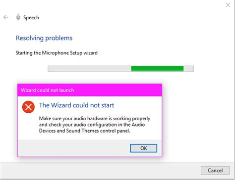 Wizard Could not start to set up microphone